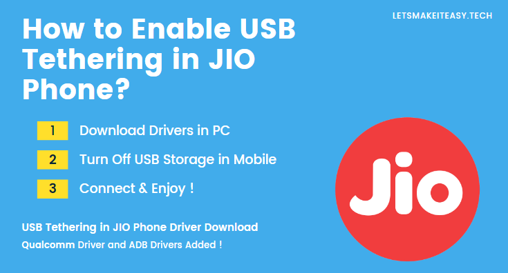 How to Enable USB Tethering in JIO Phone?